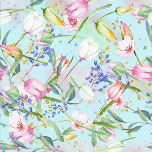 PRE ORDER Magical Garden Blue Tulips - Digital Fabric Print