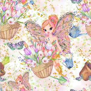 IN STOCK - Magical Garden White Fairies - Designer Fabric