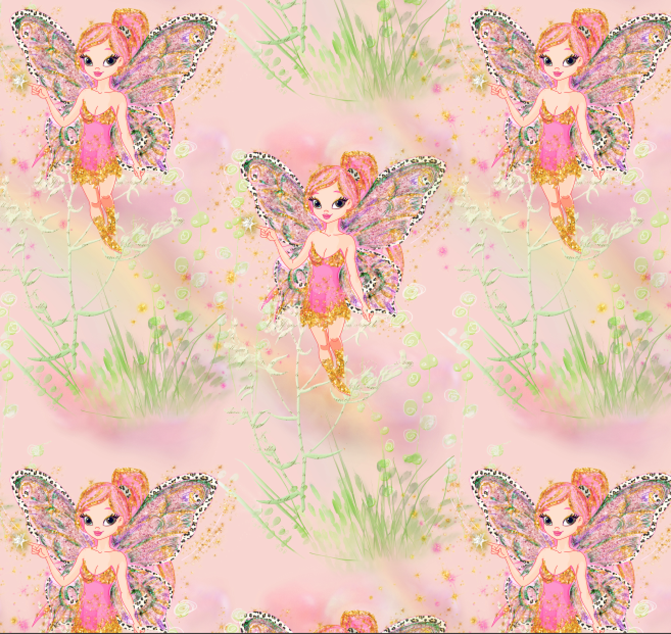 PRE ORDER Magical Garden Pink Fairies - Digital Fabric Print