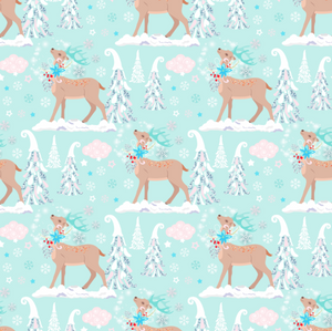 PRE ORDER Winter Wonderland Reindeer Blue - Digital Fabric Print