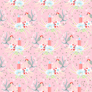 PRE ORDER Winter Wonderland Birds Pink - Digital Fabric Print