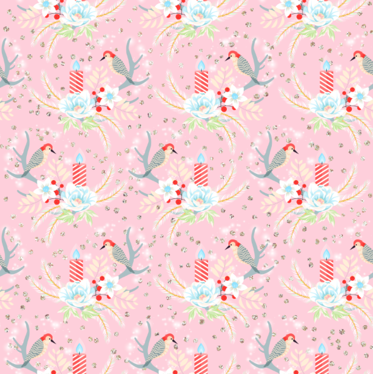 IN STOCK Winter Wonderland Birds Pink - Digital Fabric Print