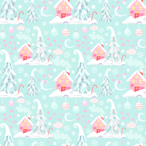 PRE ORDER Winter Wonderland Houses Blue - Digital Fabric Print
