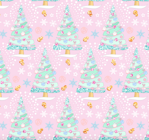 PRE ORDER Magical Christmas Trees Pink - Digital Fabric Print