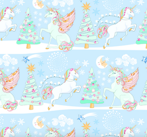 PRE ORDER Magical Christmas Unicorns Blue - Digital Fabric Print