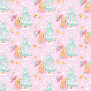 IN STOCK - Magical Christmas Teddies Pink - WOVEN COTTON