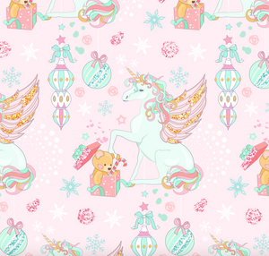 PRE ORDER Magical Christmas Unicorns Pink - Digital Fabric Print