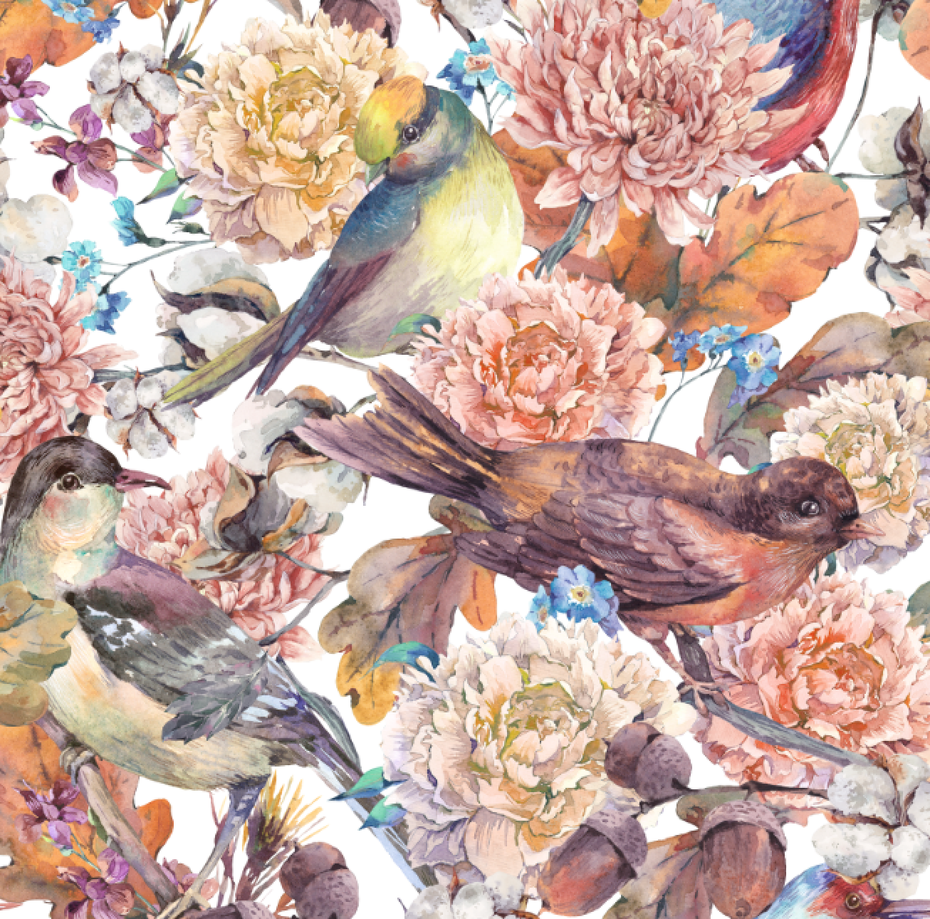 PRE ORDER - Native Forest Birds Brown - Digital Fabric Print