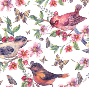 PRE ORDER Native Forest Birds White - Digital Fabric Print