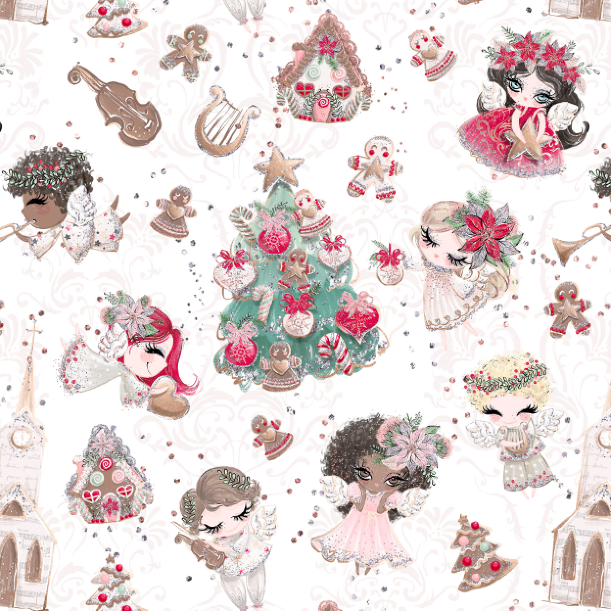 PRE ORDER Holly Jolly White Fabric