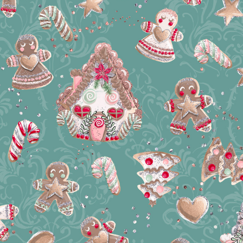 IN STOCK - Holly Jolly Green Houses - Designer Fabric