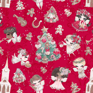IN STOCK - Holly Jolly Red - Designer Fabric Print