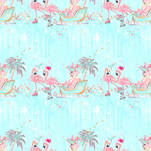 PRE ORDER Tropical Christmas Flamingos Blue