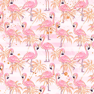 IN STOCK - Tropical Christmas Flamingos Pink - Fabric