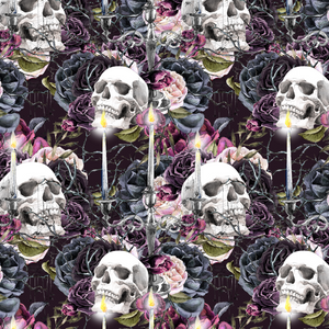 PRE ORDER Witches Garden Skulls Fabric