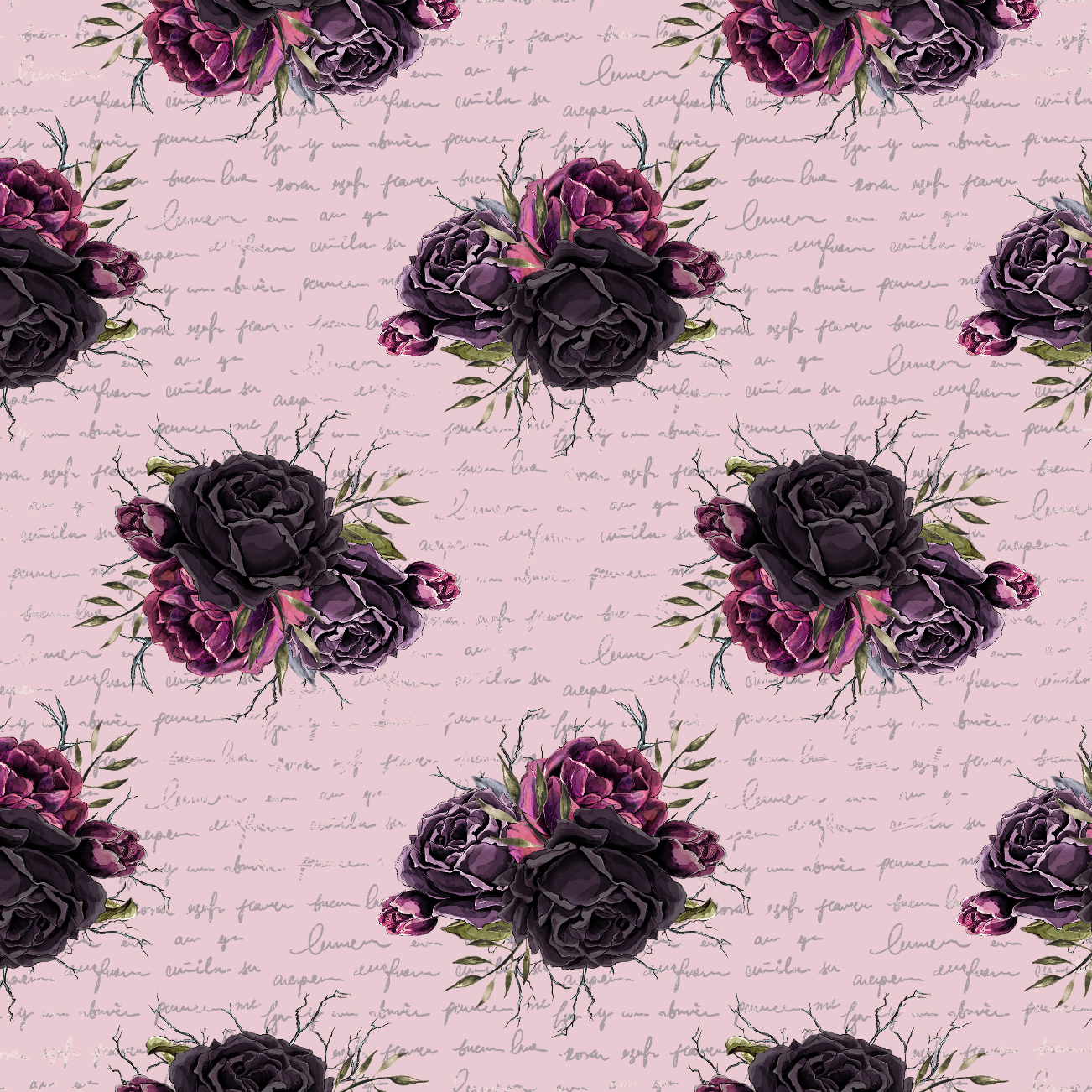 PRE ORDER Witches Garden Black Roses in Pink Fabric