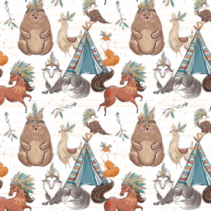 PRE ORDER - Woodland Boys Main White - Fabric