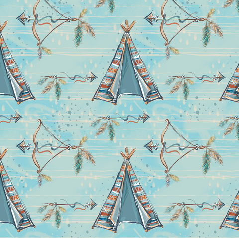 PRE ORDER - Woodland Boys Blue Teepees - Fabric