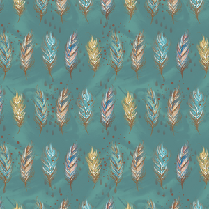 PRE ORDER - Woodland Boys Green Feathers - Fabric