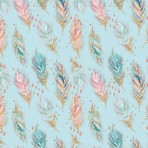 IN STOCK - Boho Babes Blue Feathers - Fabric