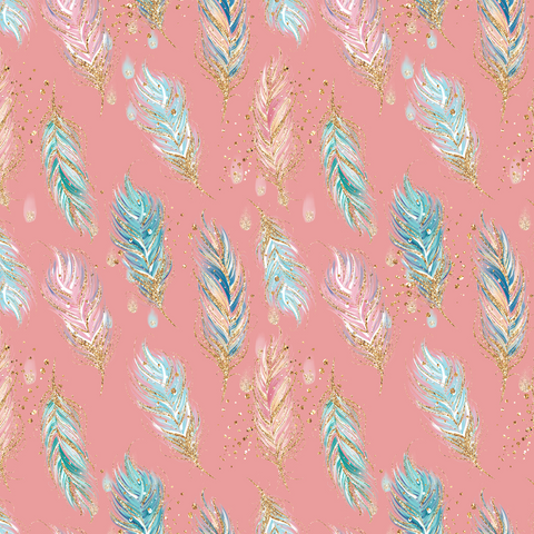 PRE ORDER - Woodland Babes Pink Feathers - Fabric