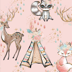 PRE ORDER - Woodland Babes Main Pink - Fabric