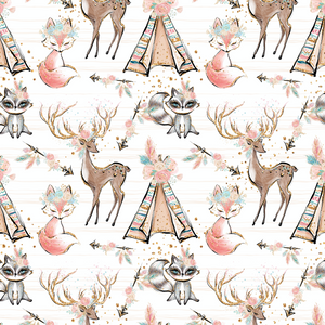 PRE ORDER - Woodland Babes Main White - Fabric