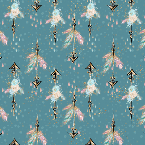 IN STOCK - Boho Babes Blue Arrows Fabric