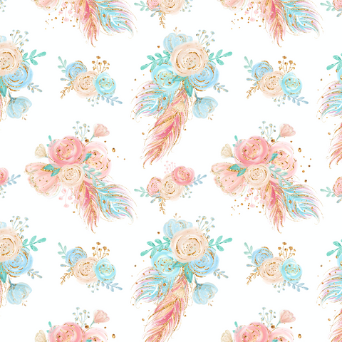 PRE ORDER - Woodland Babes White Floral - Fabric