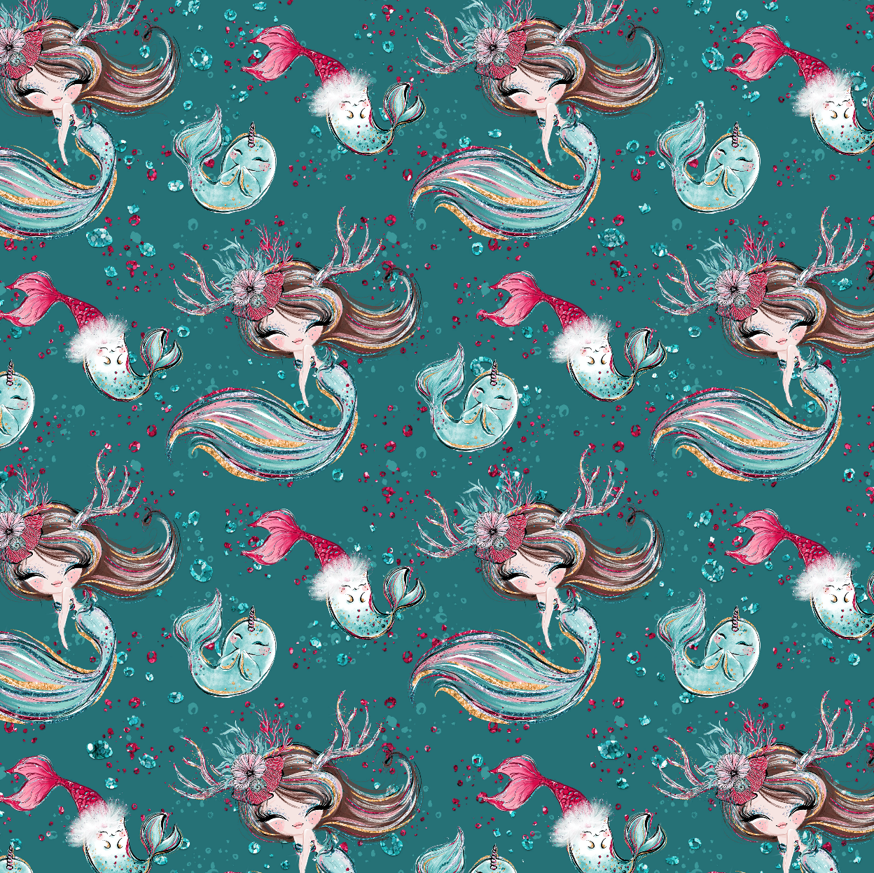 PRE ORDER Christmas Mermaids & Fishies Fabric