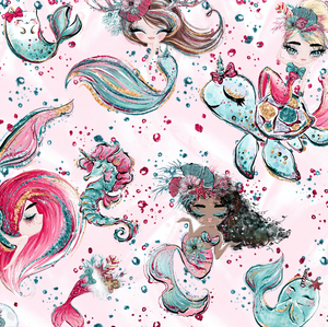PRE ORDER Christmas Little Mermaids Fabric