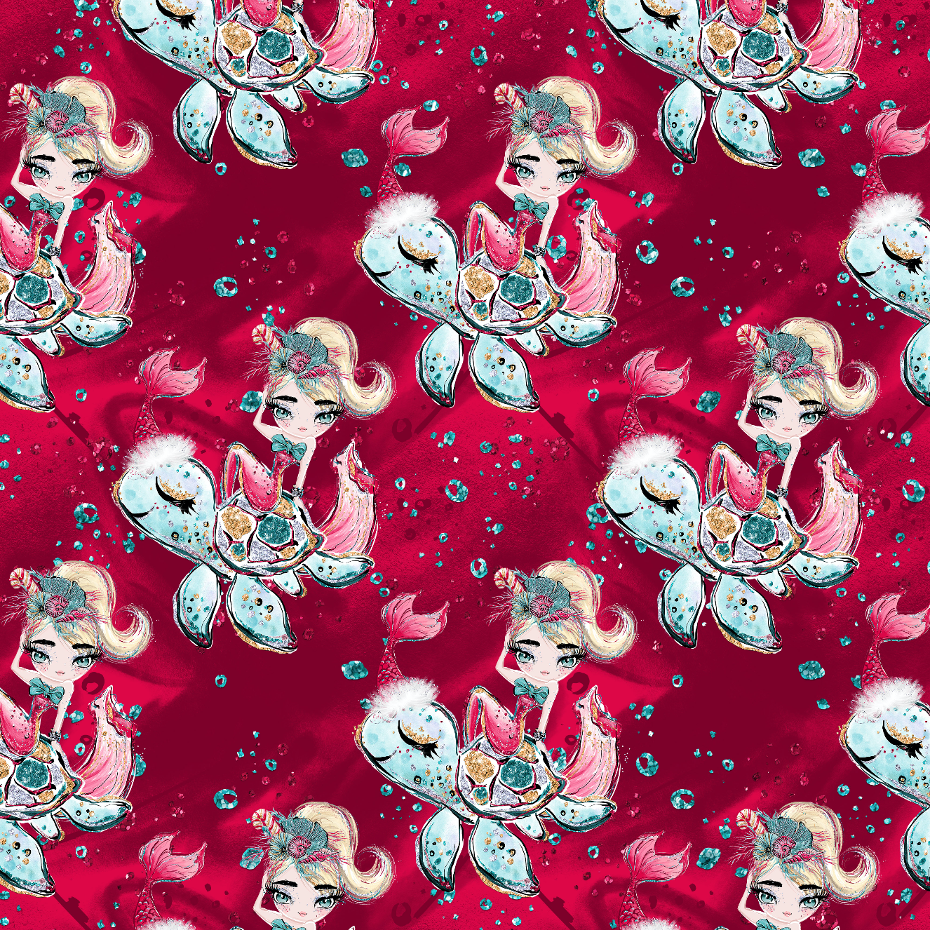 PRE ORDER Christmas Mermaids & Turtles Fabric