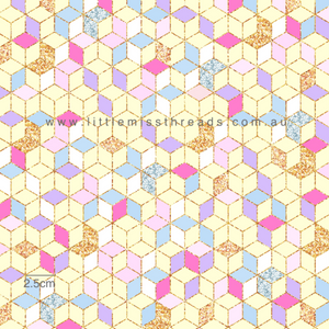 IN STOCK - Happy Easter Bunnies Yellow Diamonds Fabric