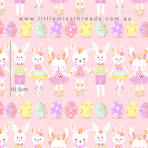 PRE ORDER Happy Easter Bunnies Pink Fabric