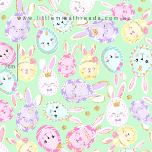 PRE ORDER Happy Easter Bunnies Tossed Fabric