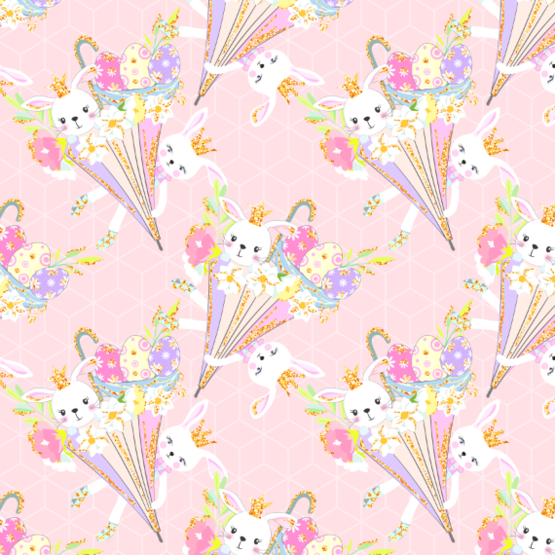 PRE ORDER Happy Easter Bunnies Umbrellas Fabric