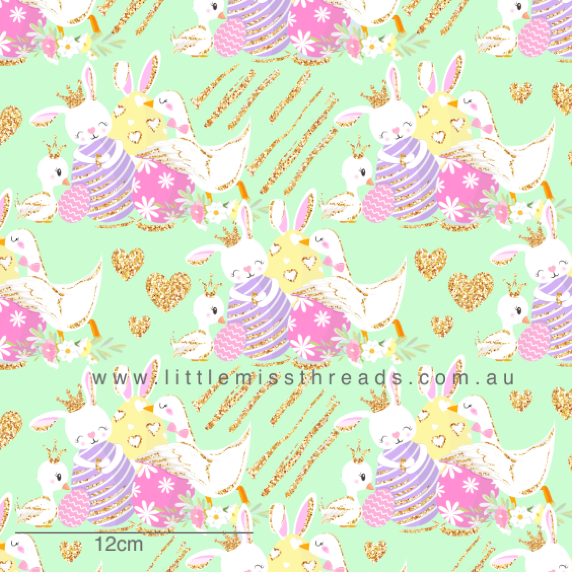PRE ORDER Happy Easter Bunnies Green Fabric
