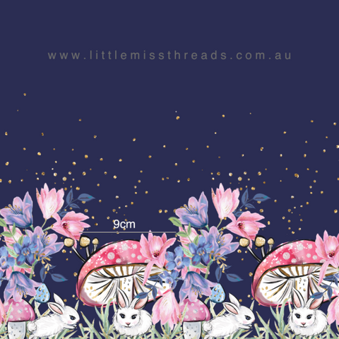 IN STOCK - Cute as a Bunny Double Border - WOVEN COTTON