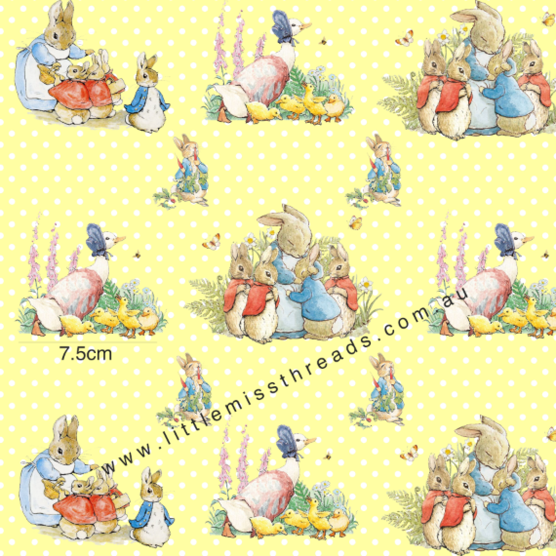 IN STOCK - Peter Rabbit in Yellow - WOVEN COTTON