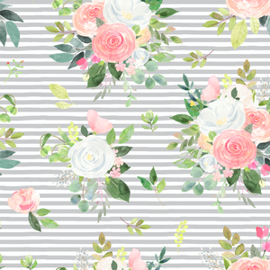 PRE ORDER Winter Blooms Grey Stripe - Digital Fabric Print