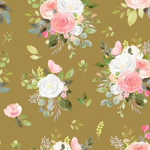 IN STOCK - Winter Blooms Mustard - WOVEN COTTON