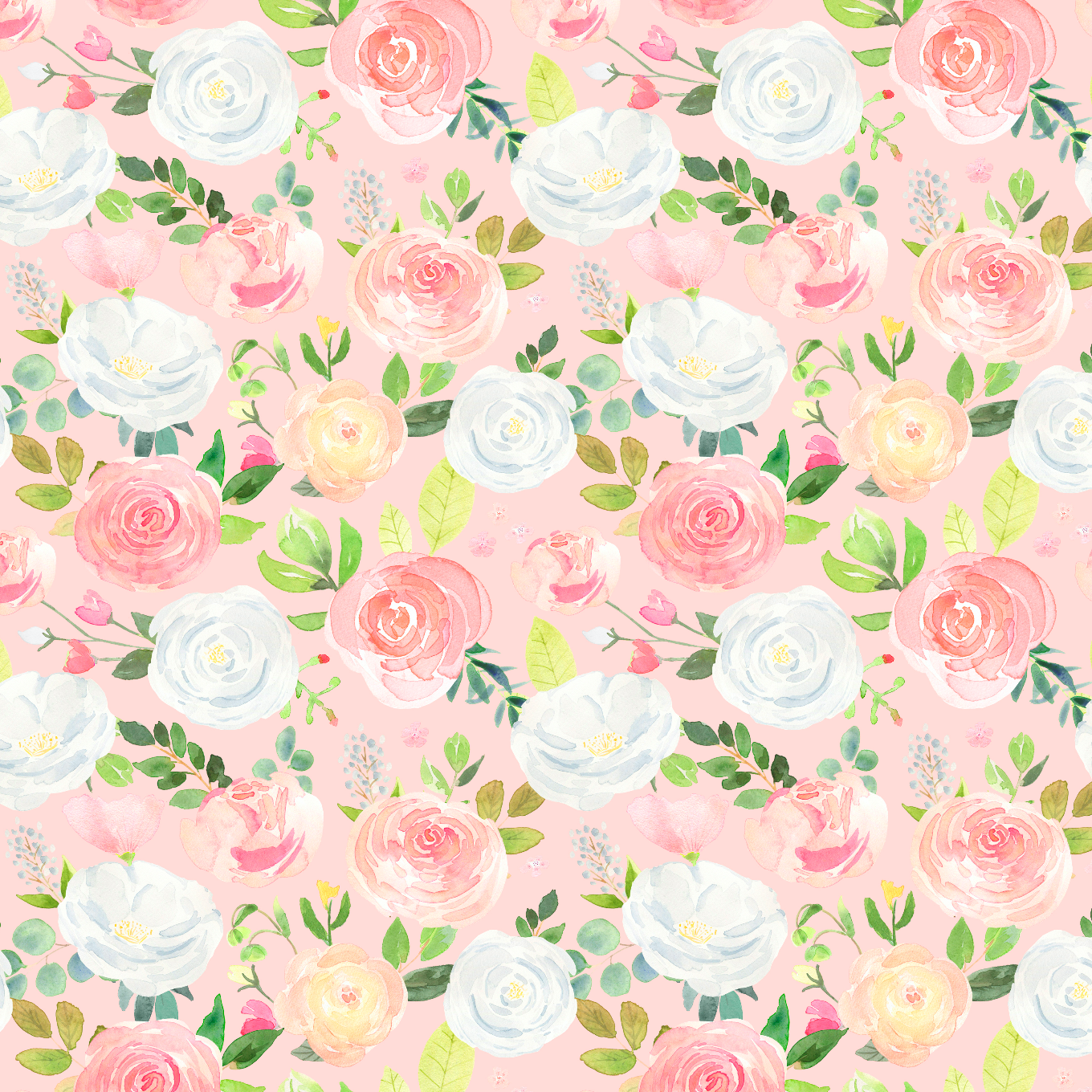 PRE ORDER Winter Blooms Large Pink - Digital Fabric Print