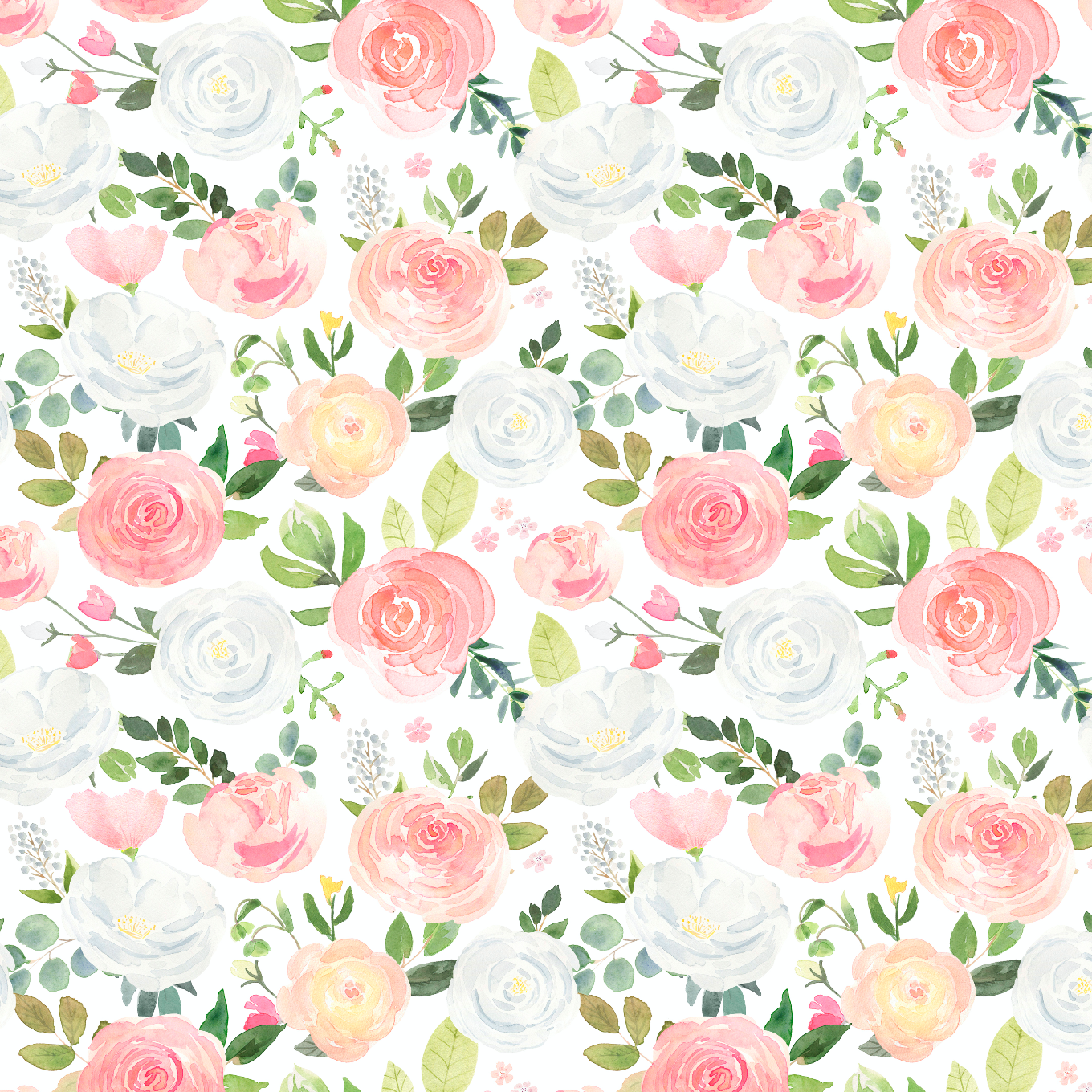 PRE ORDER Winter Blooms in White - Digital Fabric Print