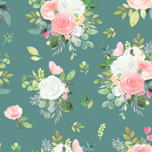 IN STOCK - Winter Blooms in Green - WOVEN COTTON