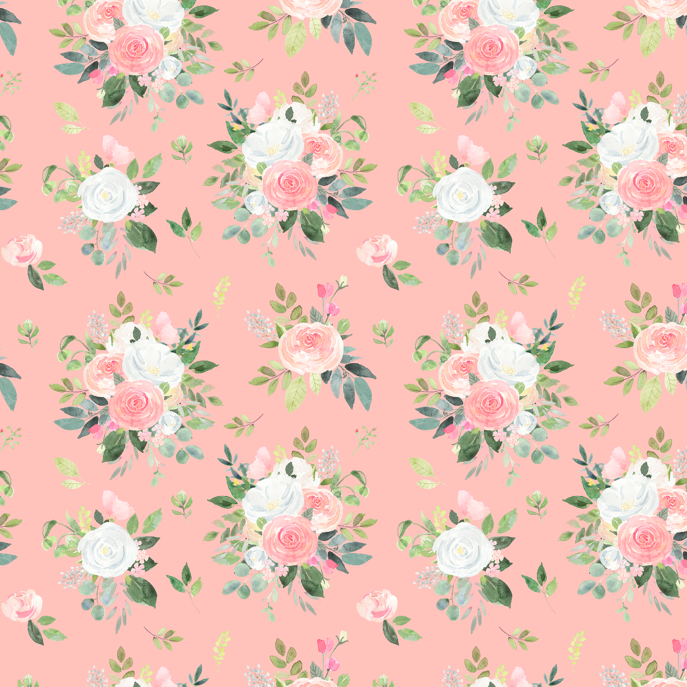 PRE ORDER Winter Blooms Small Pink - Digital Fabric Print