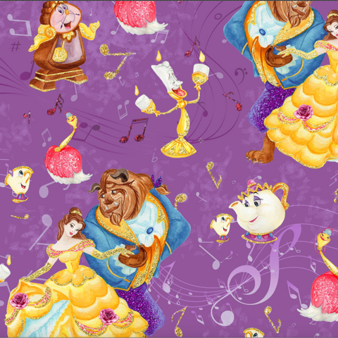 IN STOCK - Beauty & Beast Dancing Purple - Digital Fabric Print