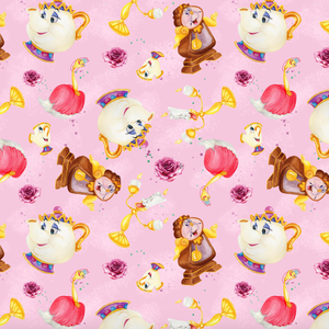 PRE ORDER - Beauty & Beast Pink Characters - Digital Fabric Print