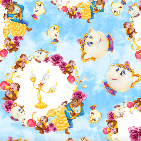 IN STOCK - Beauty & Beast Blue Circles - Digital Fabric Print