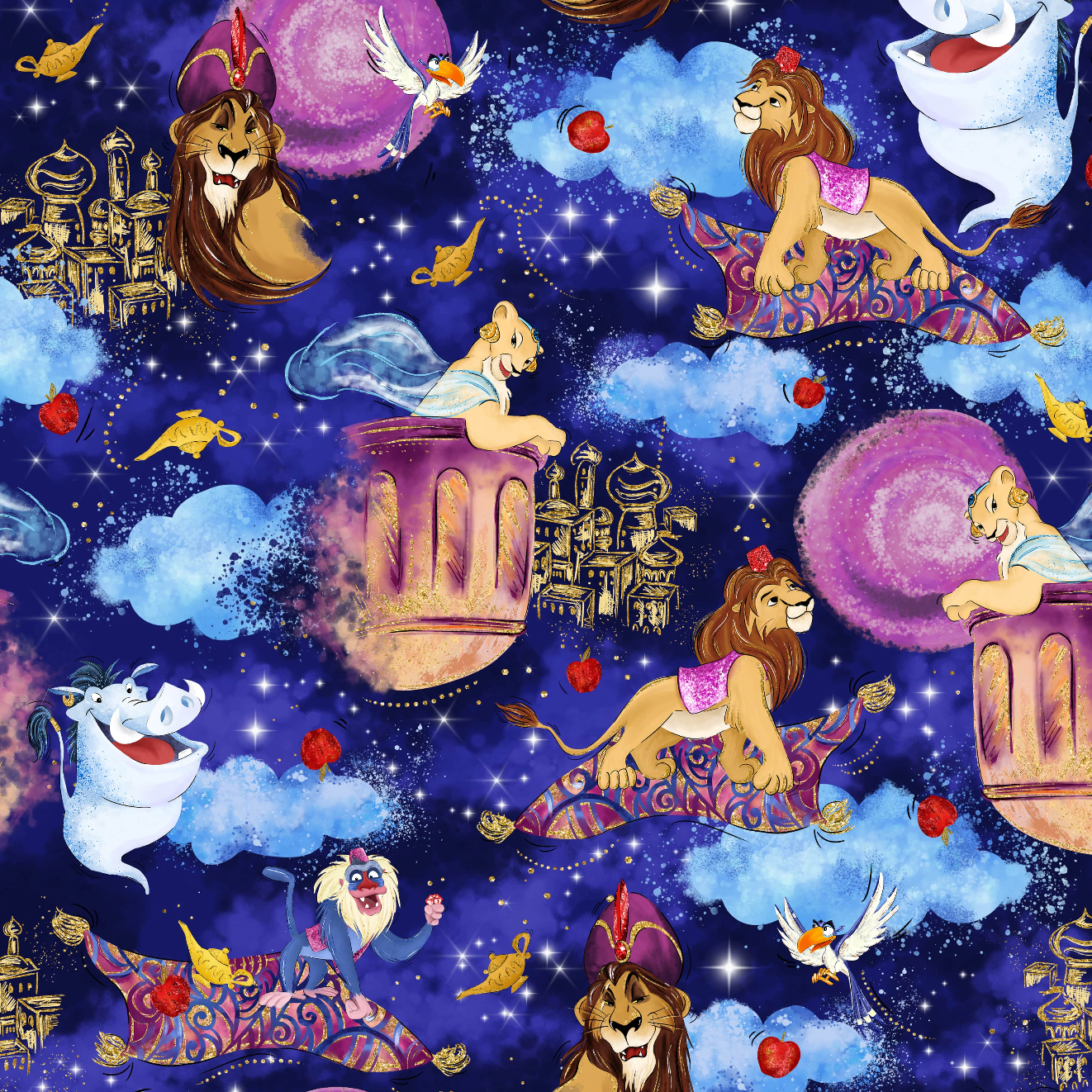 PRE ORDER Magic Lamp Lion King Main Navy Fabric