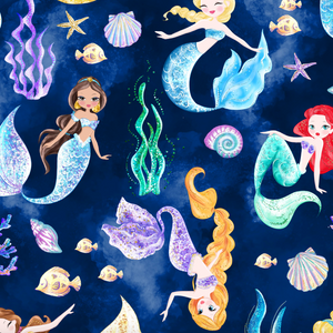 PRE ORDER Mermaid World Main Navy Fabric